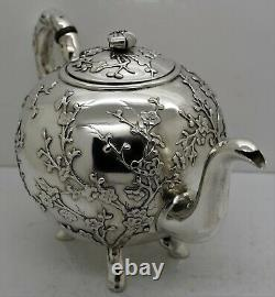 Chinese Export solid silver TEA SET. APPLIED PLUM BLOSSOM BRANCH. Luen Hing 1890