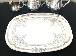 Christofle Antique Art Deco Silverplated Tea / Coffee Set With Tray 4 Pcs