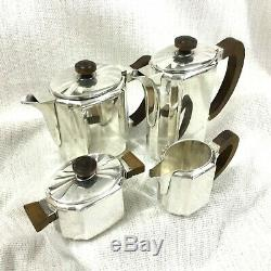 Christofle French Art Deco Silver Plated Tea Coffee Set Teapot Geometric Bauhaus
