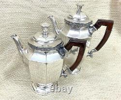 Christofle French Art Deco Silver Plated Tea Set Teapot Coffee Pot Sugar Wooden