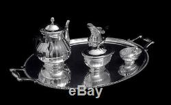 Christofle (cardeilhac) Louis XV French Antique 950 Sterling Silver Tea Set 1890