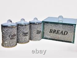 Crushed Diamond Bread Bin Storage Canisters Set Tea Coffee Sugar Crystal Silver