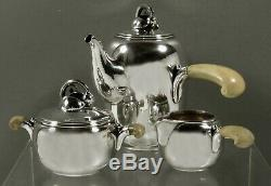 Danish Sterling Tea Set c1945 Hand Wrought Rasmussen