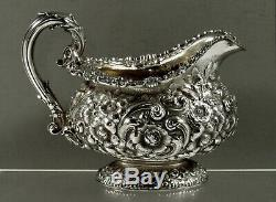 Dominick & Haff Sterling Tea Set 1889 Hand Decorated 75 Ounces