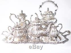 Du Barry Chased Silver Plate Coffee Tea Service Set With Kettle Stand with Tray