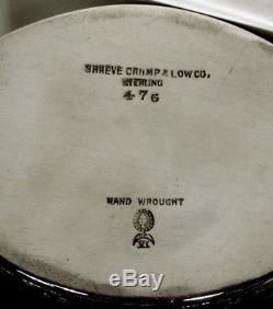 Durgin Sterling Tea Set c1910 HAND DECORATED NEVER MONOGRAMMED