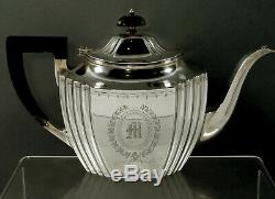 Durgin Sterling Tea Set c1920 Hand Decorated 56 Ounces
