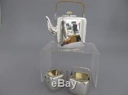 E. Dragsted Sterling Silver 3pc Teaset Copenhagen, Denmark MID Century Modern