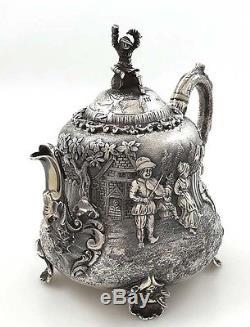 ELKINGTON Silver Figural Tea Set TENIERS Style London c1883
