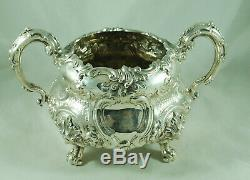 Early Victorian Crested Silver Tea Set Edward Barnards London 1850 1604g A602017