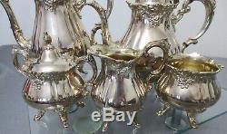 Elegant Antique, Vtg, Brillant Silverplate Wallace Baroque 6 Piece Coffee, Tea Set