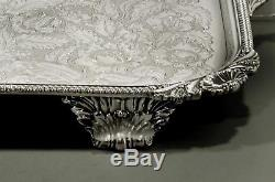 English Silver Plate Tea Set Tray GEORGE III MANNER SIGNED