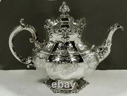 English Sterling Tea Set 1847 GOTHIC REVIVAL