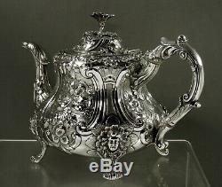 English Sterling Tea Set 1851 Maiden Feet & Bird Spout