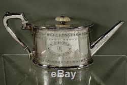 English Sterling Tea Set 1868 Bradbury, London Hand Engraved 52 oz
