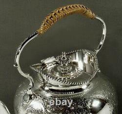 English Sterling Tea Set 1889 HAND DECORATED