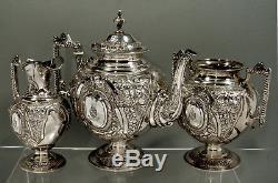 English Sterling Tea Set 1891 EAGLE HANDLES BROOKS FAMILY