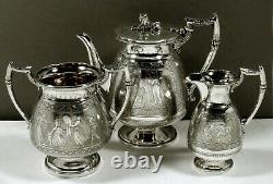 English Sterling Tea Set 1897 EGYPTIAN REVIVAL