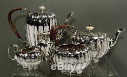 English Sterling Tea Set 1928 ELKINGTON QUEEN ANNE 74 OUNCES