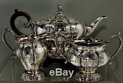 English Sterling Tea Set 1930 HAND DECORATED QUEEN ANNE MANNER
