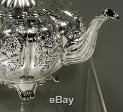 English Sterling Tea Set 1936 Barker Bros. HAND DECORATED 67 OZ