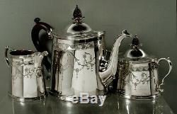 English Sterling Tea Set Georgian Hand Decorated No Mono