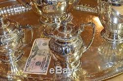 English sterling tea set 5 piece + matching tray 9.23 kilo mappin & webb 1936