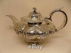 Exquisite 1828 Georgian English Sterling Silver 3 Piece Tea Set. 1.5kg! (ncb)