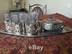 Fabulous Antique Persian Solid Silver Tea Set Including Original Glasses