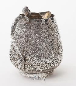 Fine Antique Indian Silver Tea Set with Floral Design & Cobra Handles c1850