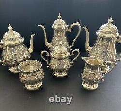 Fisher Sterling Silver 6 PCS Tea Set Hand Chased Early Georgian Pattern 2870 gr