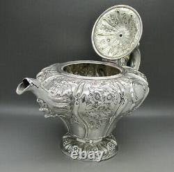 GEORGIAN SCOTTISH ORNATE SOLID STERLING SILVER 3PS TEA SET 1390g EDINBURGH 1834