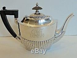 GORHAM STERLING SMALL TEAPOT DATED 1900, With WOOD HANDLE & FINIAL & HINGED LID
