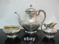 GORHAM Sterling Silver BUTTERCUP Coffee Pot Creamer Sugar Service Set