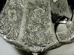 Gelston Ladd Co. Silver Tea Set c1840 CHINESE MANNER