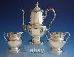 Georgian by Poole Sterling Silver Tea Set 3pc with Gadroon Border #1027 (#2870)