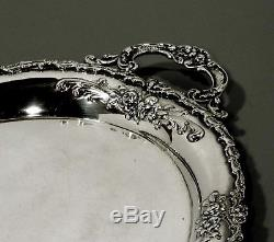 German Sterling Tea Set Tray c1890 SIGNED HAND DECORATED