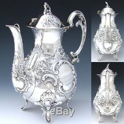 Gorgeous Antique Continental Silver 4pc Coffee & Tea Set, Ornate Louis XV Style
