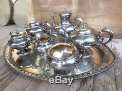 Gorham 1872 Sterling Silver 6 Pc Tea Coffee Set Beaded Bands Floral Spout #780