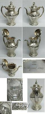 Gorham Chantilly Grand Sterling Silver 6 Piece On Sp Tray Tea & Coffee Set #a597