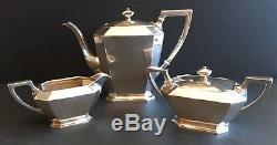 Gorham Fairfax Sterling Silver Three Piece Tea Set Teapot, Sugar, Creamer