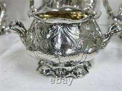 Gorham Martele, Complete Sterling Silver Tea Set With Tray & Tilting Kettle