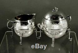 Gorham Silver Tea Set (2) c1865 Egyptian Revival