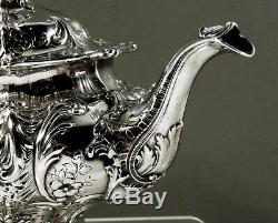 Gorham Sterling Silver Tea Set 1908 Hand Decorated