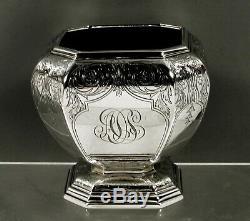 Gorham Sterling Silver Tea Set 1917 Hand Decorated