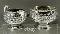 Gorham Sterling Tea Set 1892 HAND DECORATED