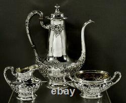 Gorham Sterling Tea Set 1906 HAND DECORATED