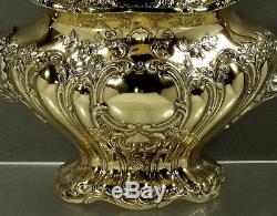 Gorham Sterling Tea Set CHANTILLY GRAND GOLD WASH