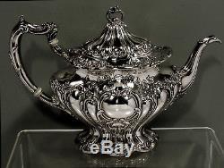 Gorham Sterling Tea Set CHANTILLY HAND DECORATED NO MONOGRAM