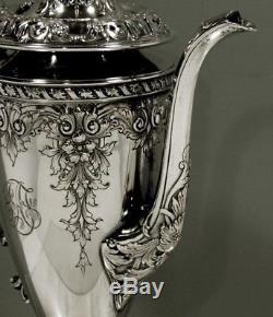 Gorham Sterling Tea Set c1915 RARE PATTERN HAND DECORATED